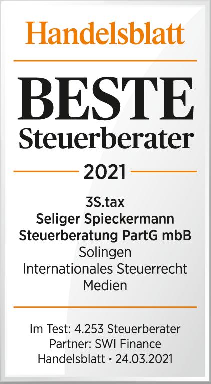 Handelsblatt Beste Steuerberater 2021 3S.tax Seliger Spieckermann Steuerberatung PartG mbB